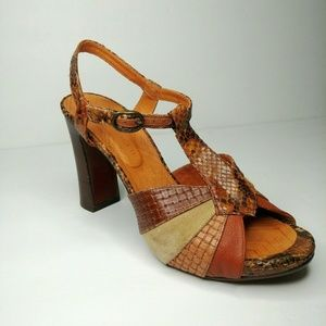 "Chie Mihara Snakeskin Leather Sandals 4.5"" Heels"